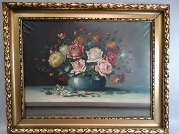Oil on Canvas Painting - Still Life : Flowers
