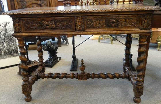 Antique French Writing Desk w/ Barley Twist Legs