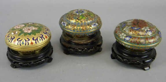 Lot of 3 Champleve Lidded Boxes on Stands
