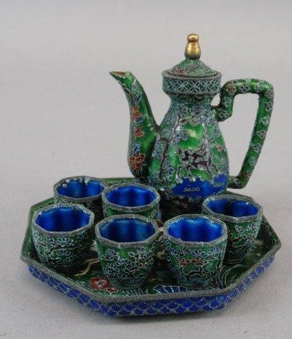 Vintage Miniature Cloisonne Tea Set