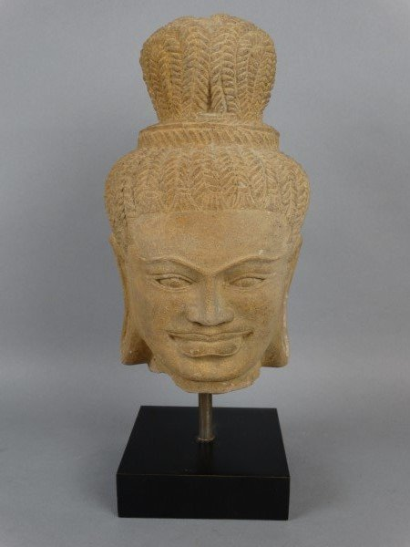 Thai Sandstone Mounted Bust