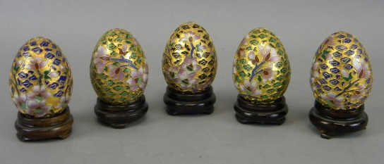 Lot of 5 Champleve Eggs on Stands