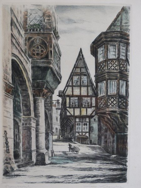 Hand Colored Engraving - Street Scene