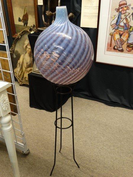Murano Glass Vase on Metal Stand