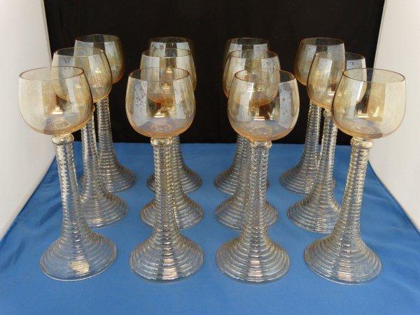 Lot of 12 Iridescent Stemmed Wine Glasses