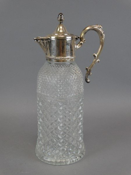 Vintage Diamond Cut Silver Decanter