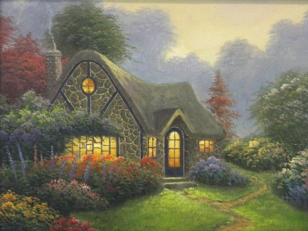 Oil on Canvas Painting in style of Thomas Kinkade