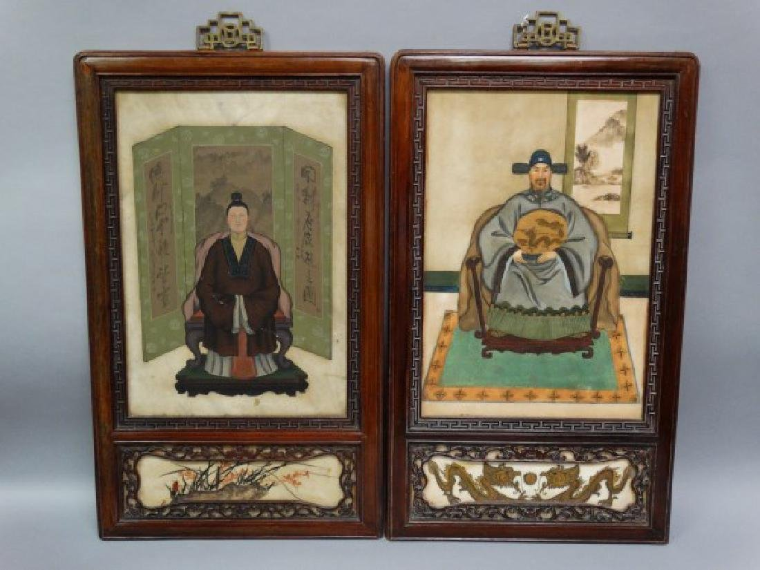 Pair of Antique Chinese Framed Marble Paintings