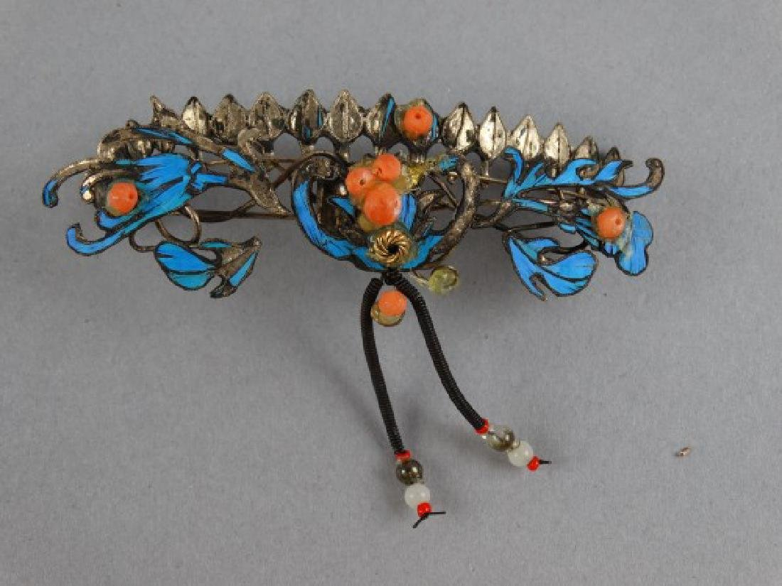 Antique Chinese Kingfisher Pin