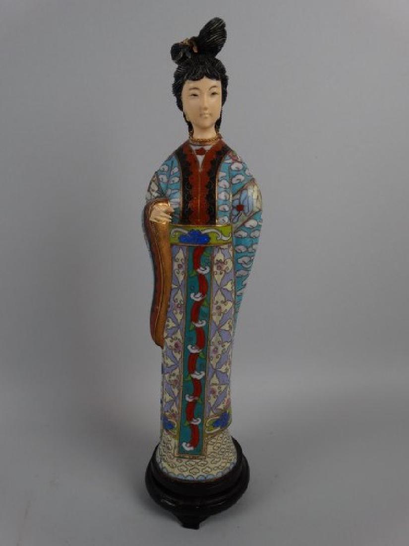 Vintage Chinese Cloisonne Figure - Lady