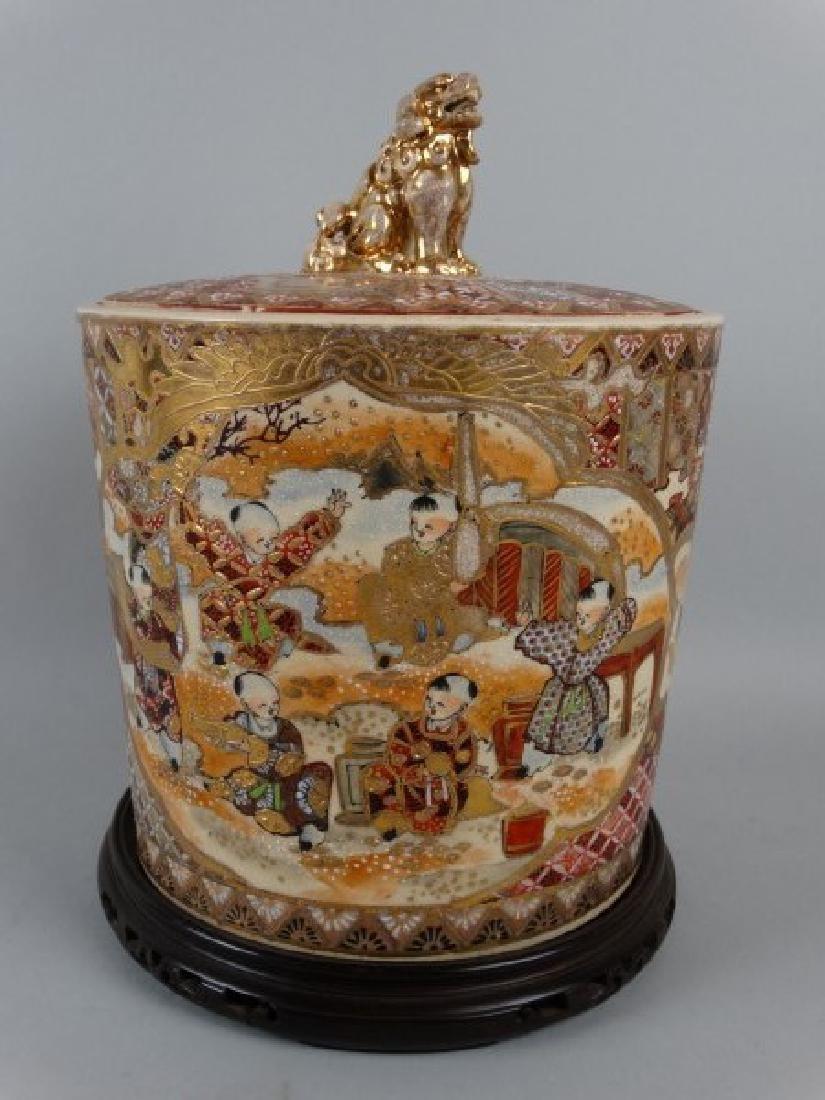 Antique Satsuma Biscuit Jar w/ Lid
