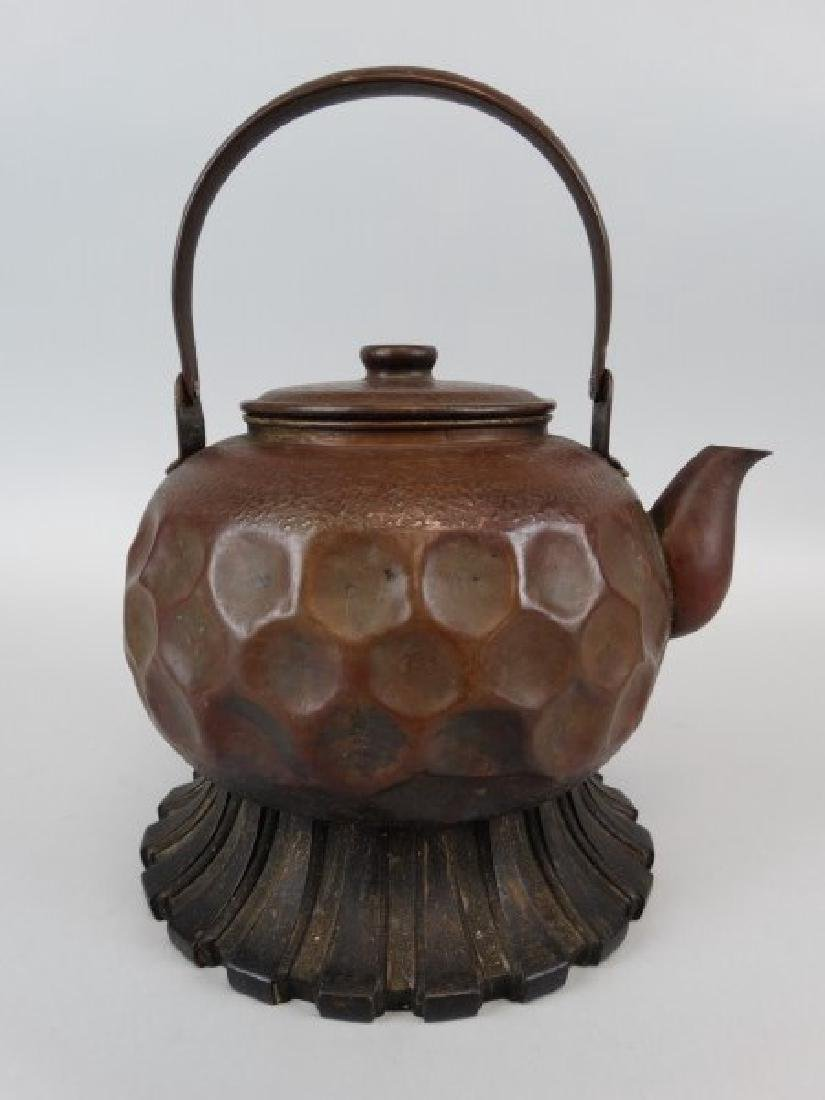 Japanese Copper Teapot on Stand