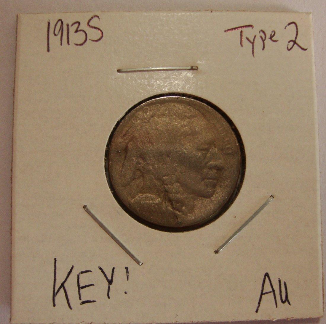 1913 S Type 2 Buffalo Nickel 5c AU