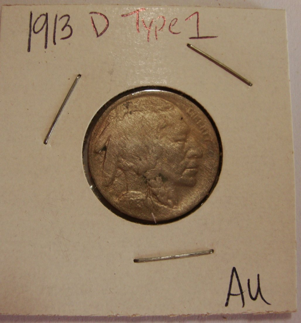 1913 D Type 1 Buffalo Nickel 5c AU