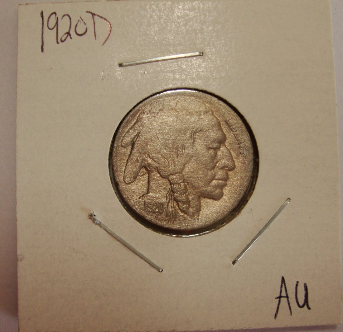 1920 D  Buffalo Nickel 5c AU