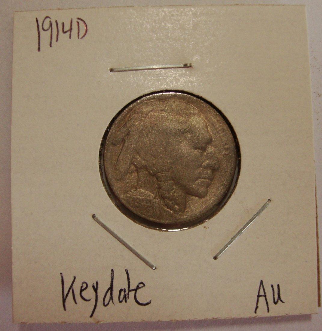 1914 D Buffalo Nickel 5c Key Date AU