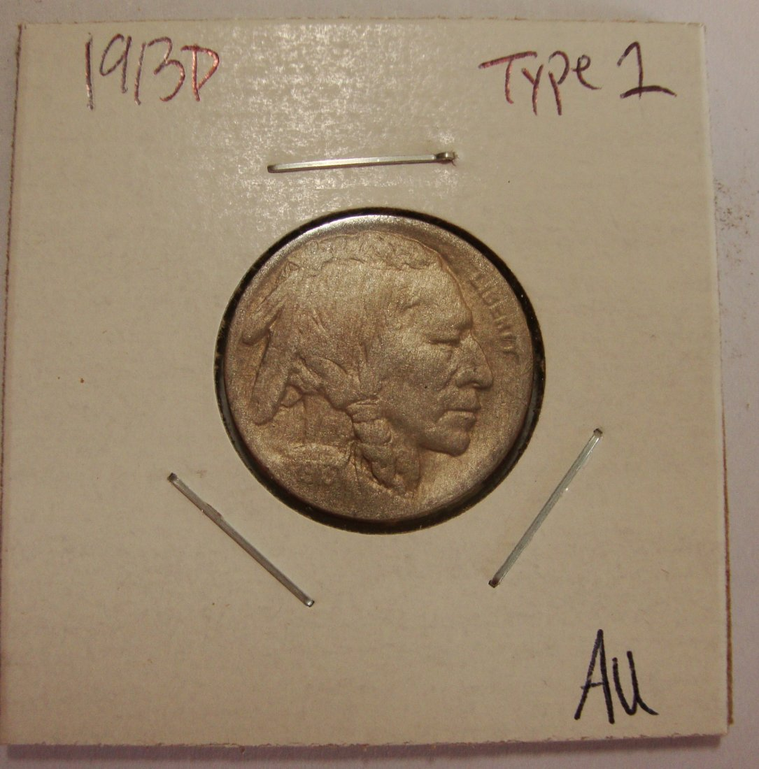 1913 D Type 1 Buffalo Nickel 5c AU #2
