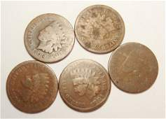 Lot of 5 1884 Indian Head Cents