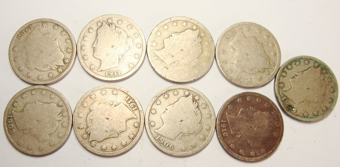 Lot of 9 Common V Liberty Nickels
