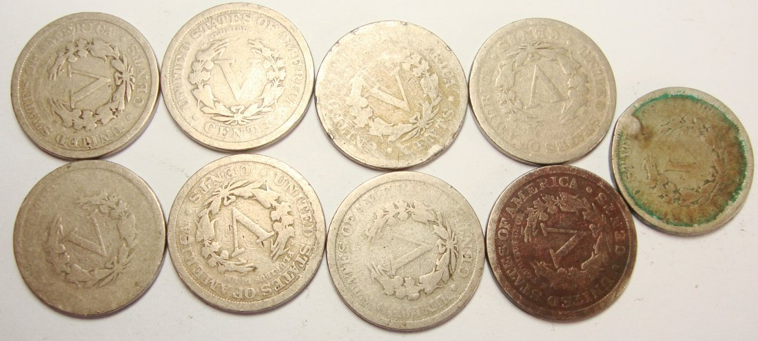 Lot of 9 Common V Liberty Nickels - 2