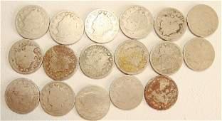 Lot of 17 Rare Liberty Nickels