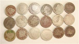Lot of 18 1893 Liberty V Nickels