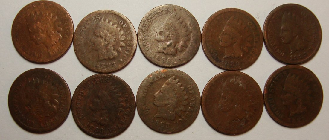 Lot of 10 1883 Indian Head Cents