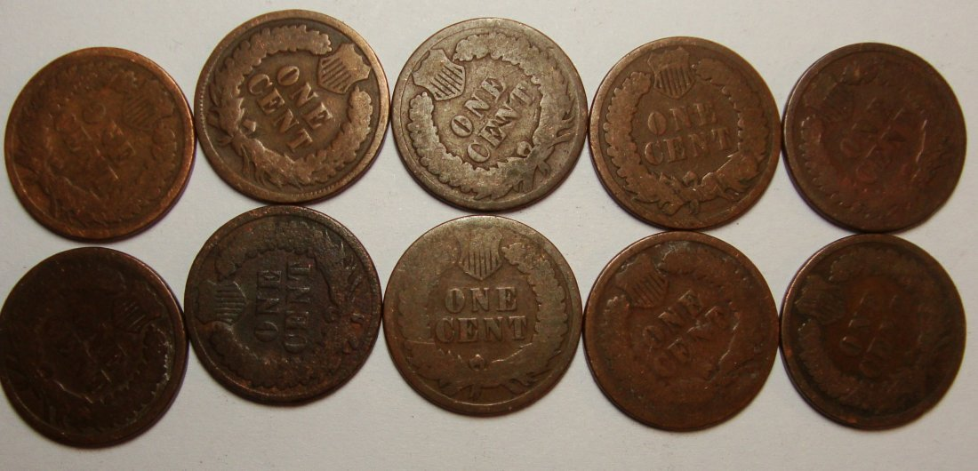 Lot of 10 1883 Indian Head Cents - 2