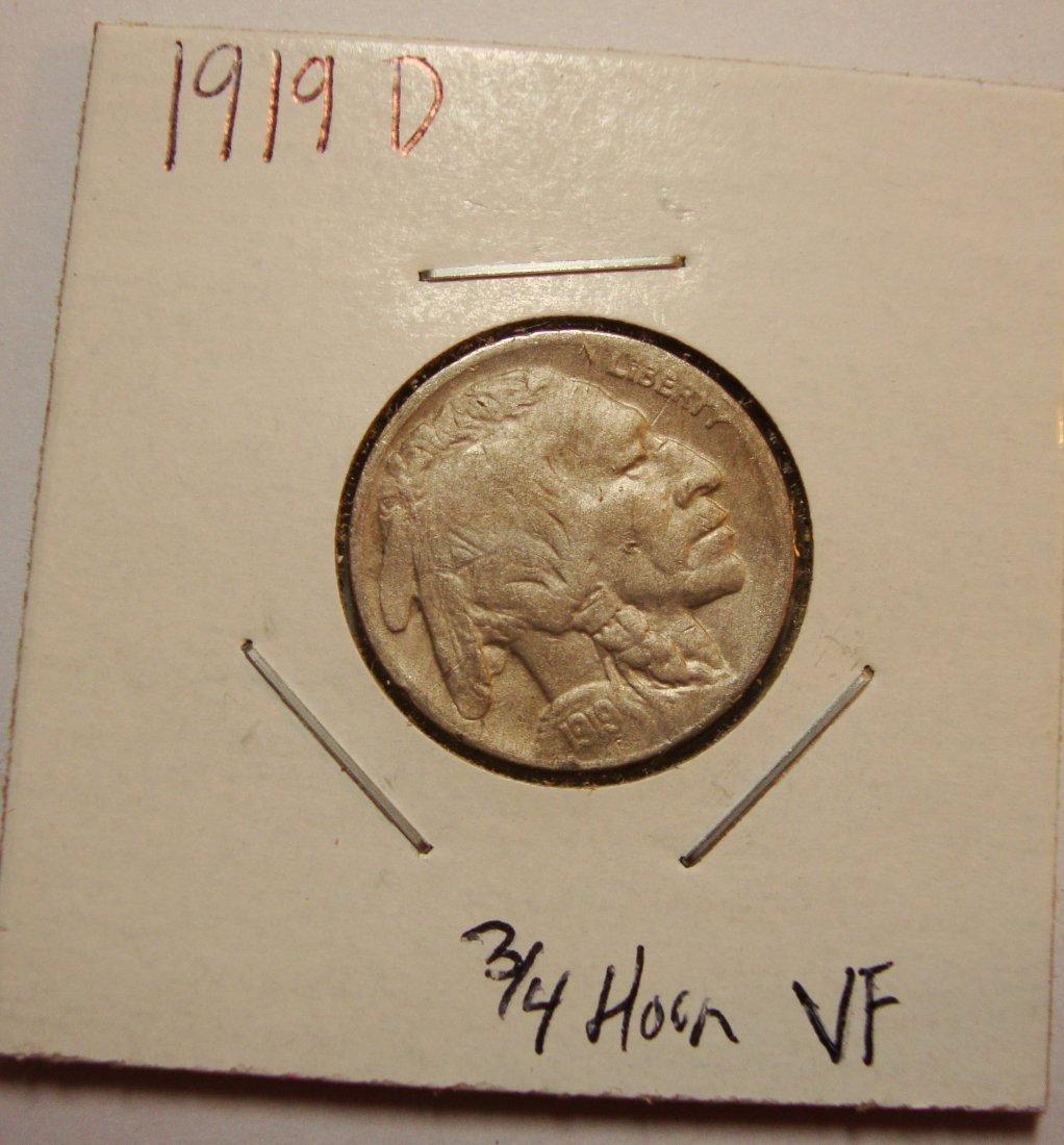 1919 D Buffalo Nickel 5c VF
