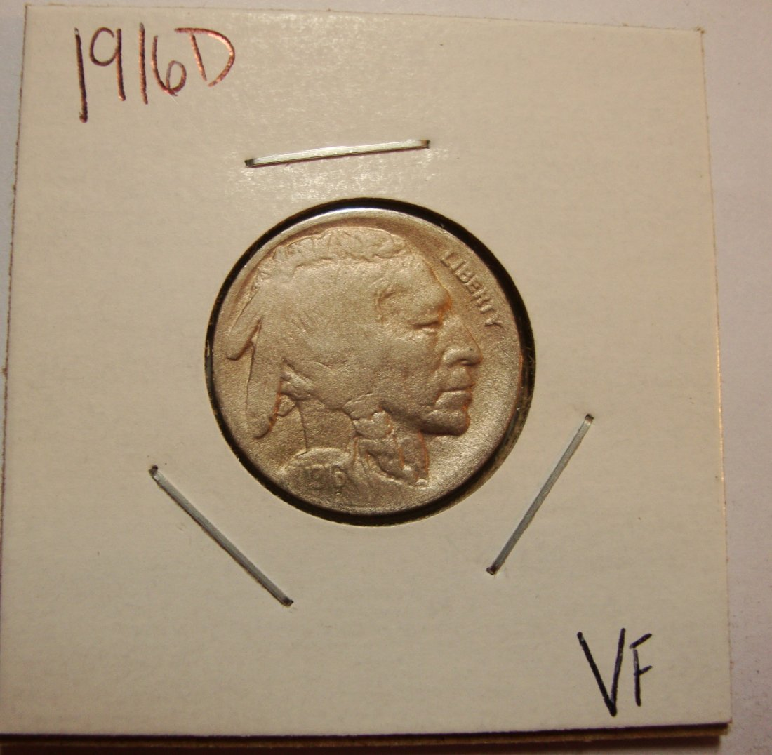 1916 D Buffalo Nickel 5c VF
