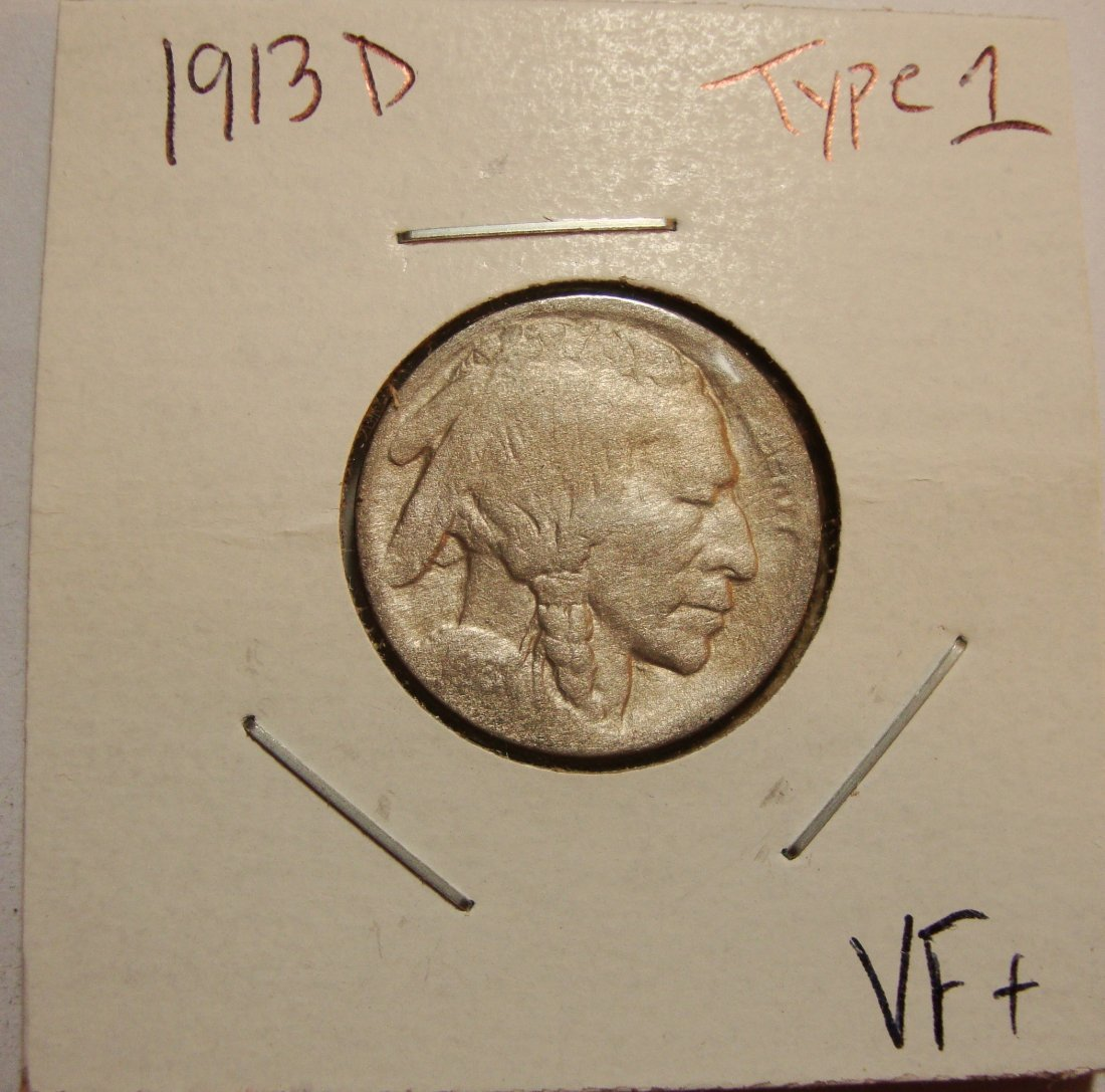 1913 D Type 1 Buffalo Nickel 5c VF+