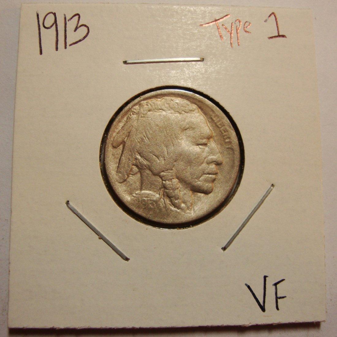 1913 Type 1 Buffalo Nickel 5c VF