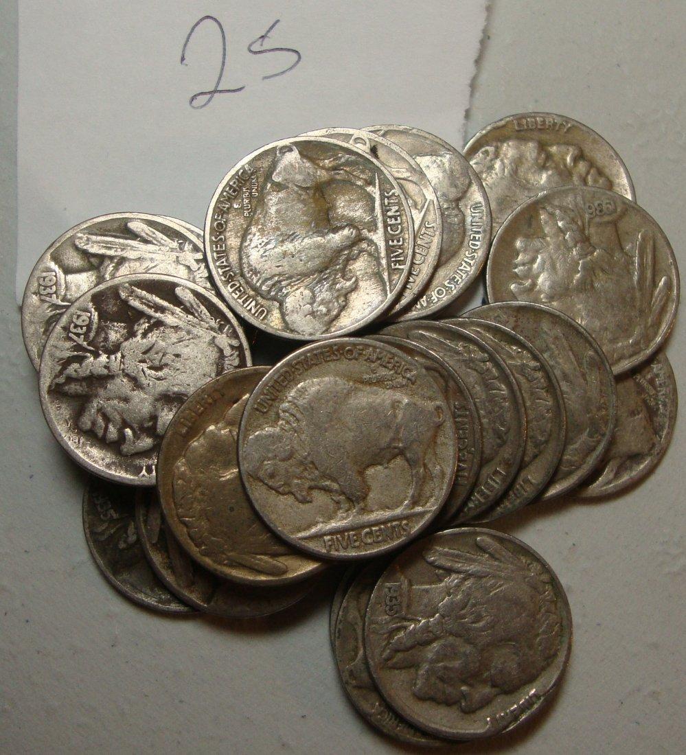 Lot of 25 Buffalo Nickels