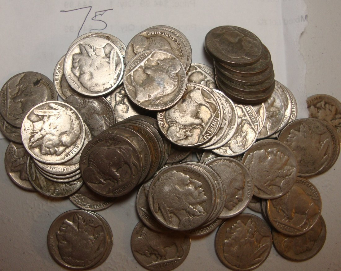 Lot of 75 Buffalo Nickels
