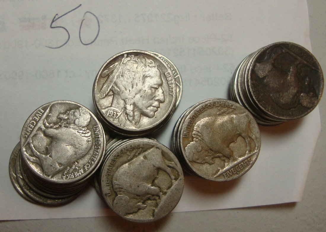 Lot of 50 Buffalo Nickels #1