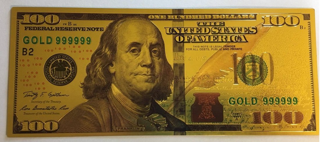 Gold Plated .999 24K $100 Bill Type 1