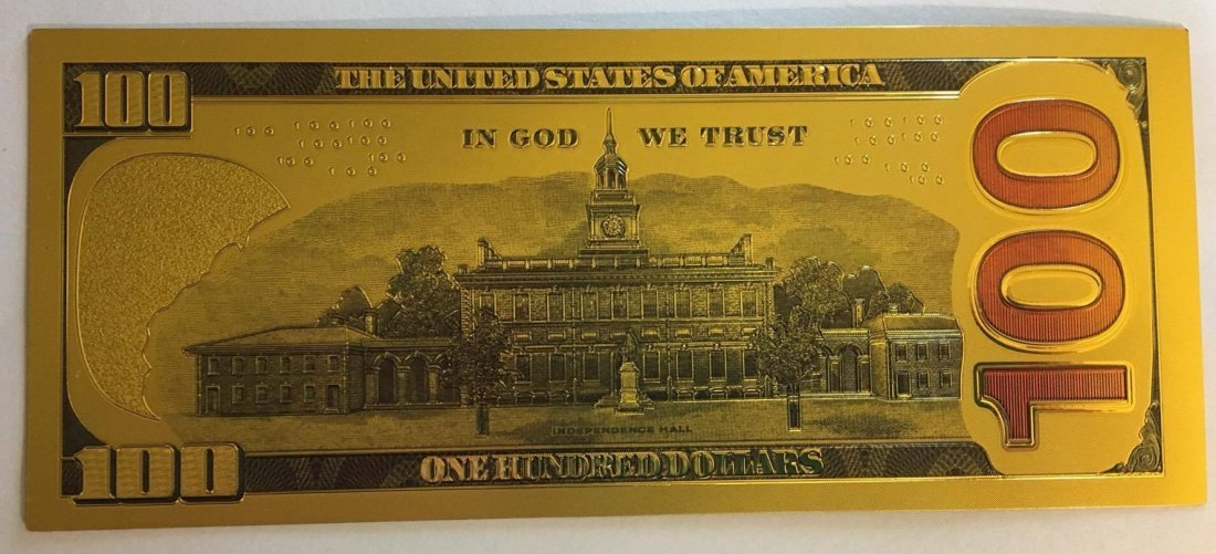 Gold Plated .999 24K $100 Bill Type 1 - 2