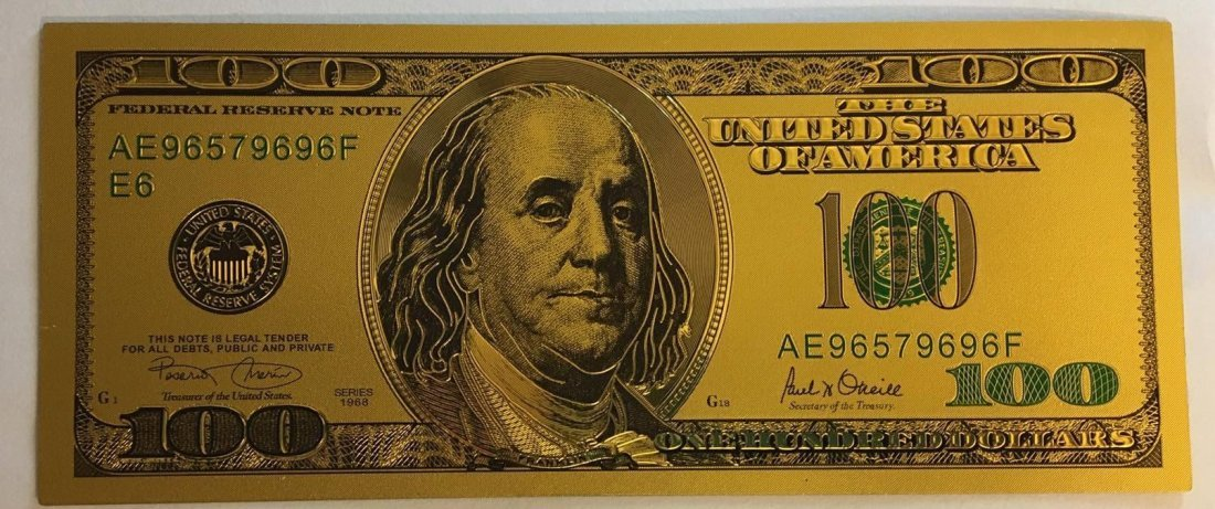 Gold Plated .999 24K $100 Bill Type 2