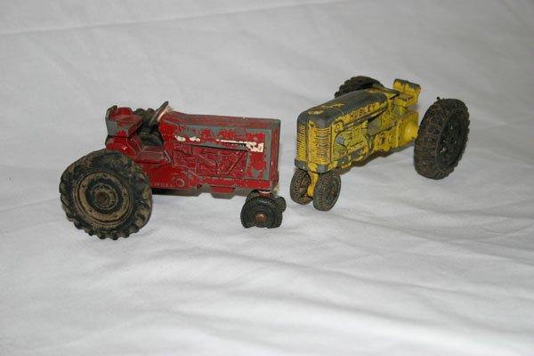 1: HUBLEY KIDDIE YELLOW TRACTOR, ERTL RED TRACTOR