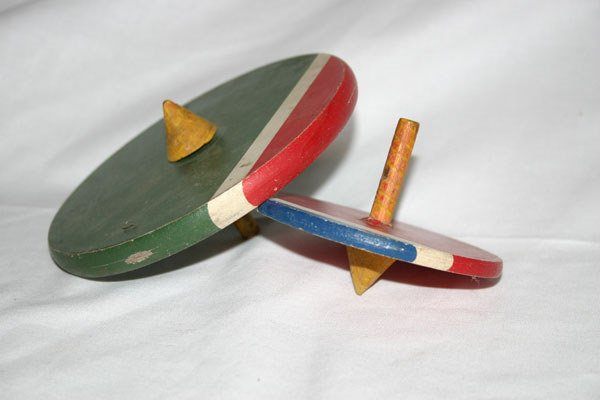 3: TWO WOODEN TOPS
