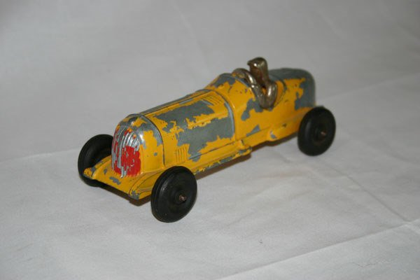 11: STEEL RACE CAR, YELLOW, HUBLEY KIDDIE TOY
