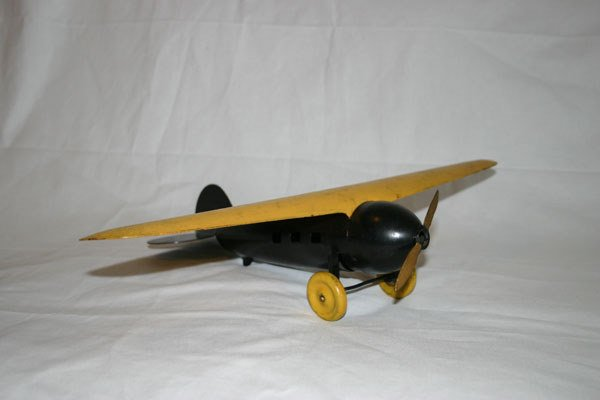 14: ANTIQUE METAL TOY AIRPLANE, BLACK AND YELLOW, WOOD