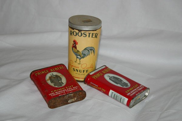 16: ROOSTER SNUFF AND 2 PRINCE ALBERT LONG CUT CANS
