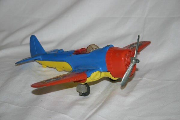 17: HUBLEY KIDDIE TOY AIRPLANE WITH FOLDING WINGS AND R