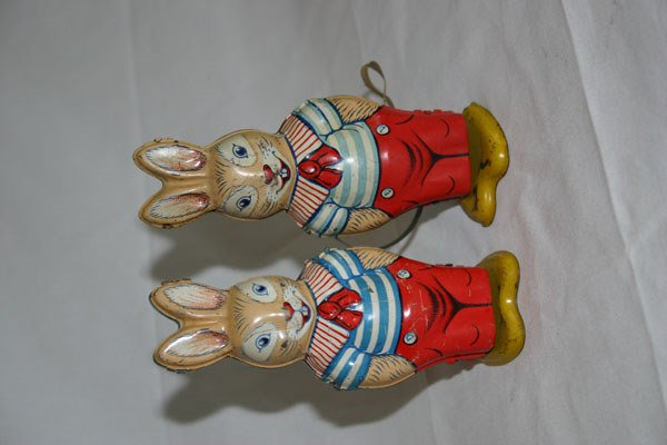 22: TWO METAL TOY WIND-UP RABBITS, J.CHEN AND COMPANY