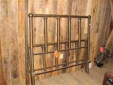 1975: BRASS TWIN SIZE BED FRAME WITH HEAD BOARD AND FOO