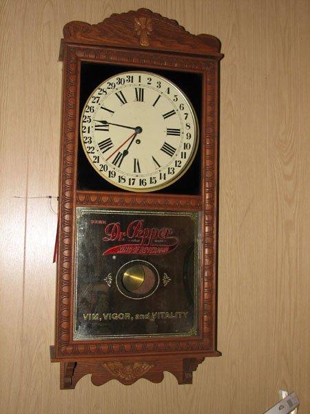 2005: DR. PEPPER CLOCK, PENDULUM CLOCK, OAK AND MOLDING
