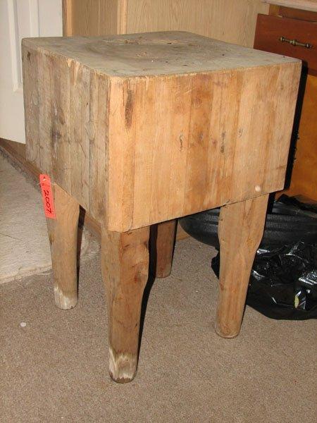2007: BUTCHER BLOCK TABLE, SQUARE MULTI PLANK TABLE TOP