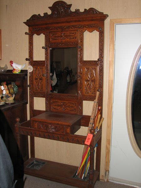 2010: TALL DUAL STALL WOOD UMBRELLA STAND AND COAT RACK