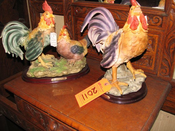 2011: 2 ALABASTER ART RESIN SCULPTURES OF ROOSTERS, FRO
